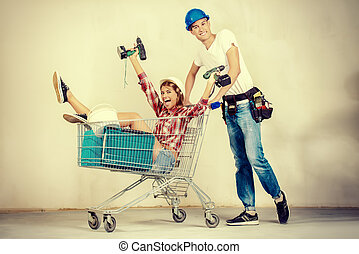 moving to a new home - Happy young couple went shopping for...