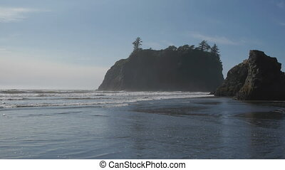 Ruby Beach - Waves gently lap the shore on Ruby Beach