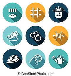 Vector Set of Interrogation Icons. Criminal, Prison,...