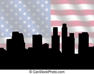 Los Angeles skyline with Flag - Los Angeles skyline against...