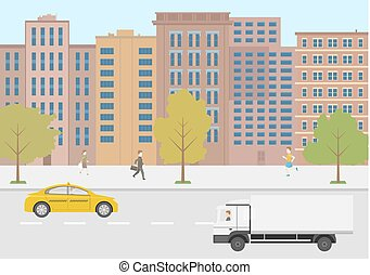 Modern vector illustration city life. Flat design