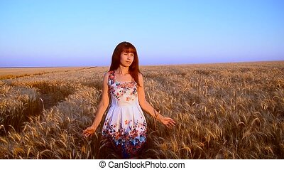 Girl goes with wheat across the field - Little girl goes...