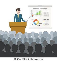 Businessman holds a lecture to an audience with finance...
