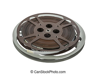 Vintage 16 mm Film Reels Isolated on White - Vintage 16 mm...