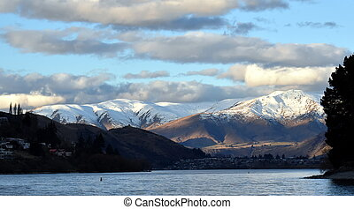 Lake Wakatipu from Kelvin Heights in winter. The Remarkables...