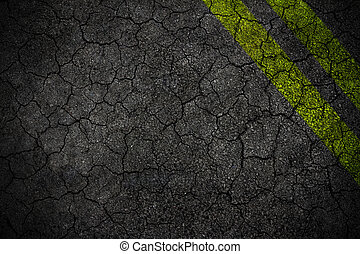 Crack road texture with two yellow