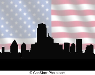 Dallas skyline with American Flag - Dallas skyline against...