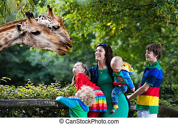 Mother and kids feeding giraffe at the zoo - Mother and...