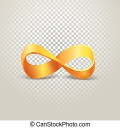 Infinity golden sign on transparent background