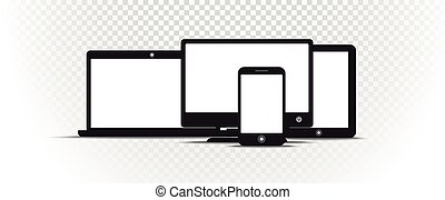 Abstract style modern gadgets with blank screen on transparent background. Template for any content