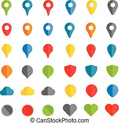 Navigation pins color collection isolated on white background