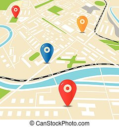 Abstract city map with color pins Flat design illustration