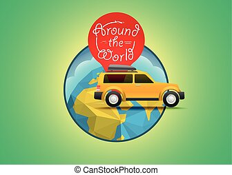 Vacation travelling concept. Vector travel illustration. Around the world