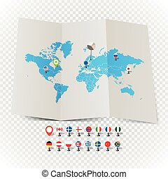 World map on old map and flags of different countries and symbols on transparent background