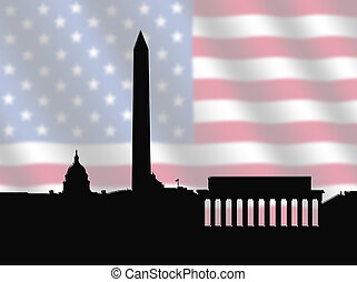 Washington DC skyline with American Flag - Washington DC...