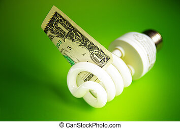 Compact fluorescent light bulb, with a dollar bill