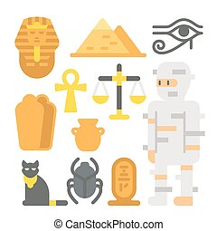 Flat design mummy item set illustration vector