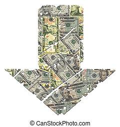 grunge down dollar arrow