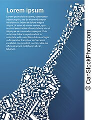 Guitar silhouette made up from music notes and signs on blue background