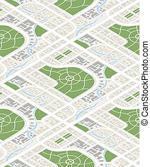 Map of the city in isometric view, seamless pattern