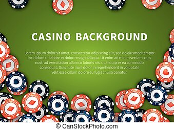 Red and blue casino chips on green table, background with text template