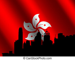 Hong Kong with rippled flag - Hong Kong skyline with rippled...