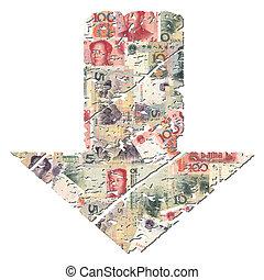 grunge down Yuan arrow - grunge downwards Chinese Yuan arrow...