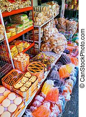Display of food at Mercado Cuatro in Asuncion, Paraguay....