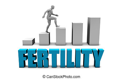 Fertility 3D Concept  in Blue with Bar Chart Graph