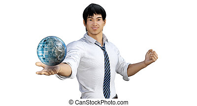 Global Communications with Man Holding Globe in His Palm