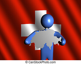 man with Switzerland map on flag