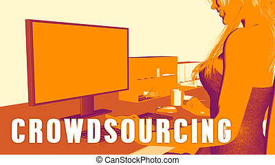 Crowdsourcing Concept Course with Woman Looking at Computer