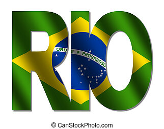 overlapping Rio text with flag