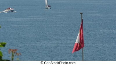 4K, Flag at Brienzersee, Swiss - 4K, Flag at Brienzersee,...