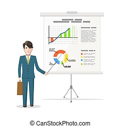 Businessman standing near whiteboard and pointing on the chart of finance analytics