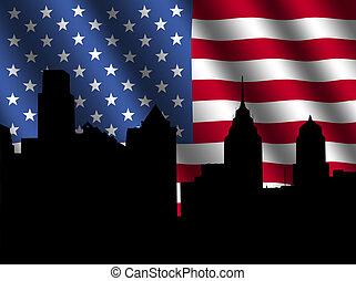 Philadelphia skyline with rippled Flag - Philadelphia...
