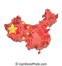 China Map flag with Yuan notes illustration