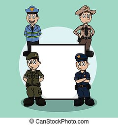 officer profession sign illustration design