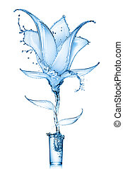 flower made of water splashes - blue flower made of water...
