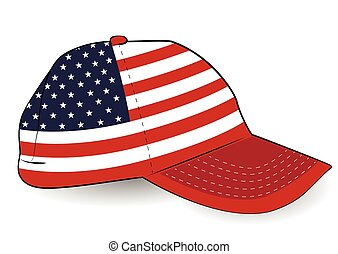 Baseball cap with USA flag on white background.