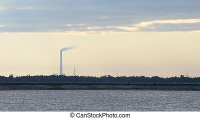 Smoke coming out of industrial chimney - Smoke stack. Smoke...