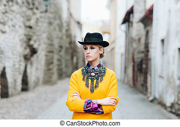 Beautiful, young stylish woman in the old town - Beautiful...