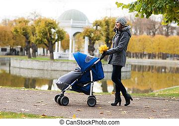 madre, ambulante, con, Un, bebé, cochecito de niño, en, el,...