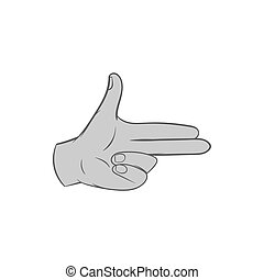 Gesture index and middle finger together icon in black...