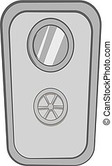 Door of safe icon, black monochrome style