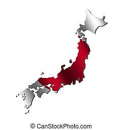 Japan map flag