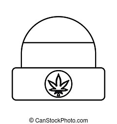 Rastafarian cap icon, outline style - Rastafarian cap with...