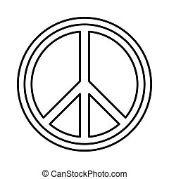Peace sign round icon, outline style - Peace sign round icon...