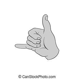 Gesture surfing icon, black monochrome style