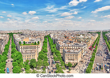 Beautiful panoramic view of Paris from the roof of the...